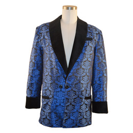 "Men's blue brocade smoking jacket with bemberg lining.  Black velvet cuff and collar.  Adjustable 3"" cuff to lengthen or shorten"