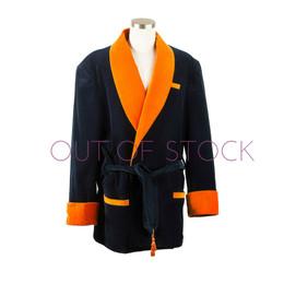 Navy and Orange Men's Velvet Smoking Jacket