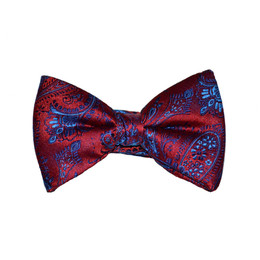 Paisley Bow Tie - Red and Blue