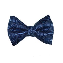 Circular Print Bow Tie - Blue