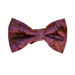 Brocade Leaf Print Bow Tie - Purple