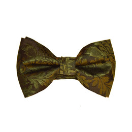 Brocade Leaf Print Bow Tie - Olive