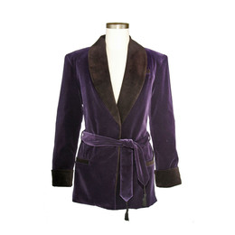 Men's Bilberry Purple Velvet Smoking Jacket with Black Lining