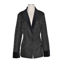 Women's Black Brocade Smoking Jacket with Black Lining