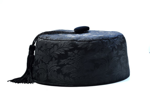 Black brocade smoking cap available in several sizes.  Matching jacket and bow tie available.