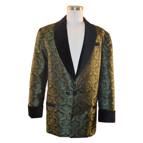"""Men's Olive Green Smoking Jacket with bemberg lining.  Black velvet cuff and collar.  Adjustable 3"""" cuff to lengthen or shorten"""