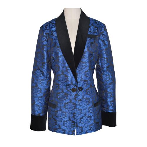 Women's  Blue Brocade Smoking Jacket with Black Lining
