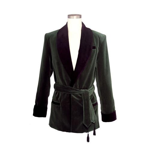Men's Laurel Green Velvet Smoking Jacket with Black Lining