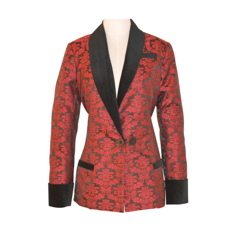 Women's Wine Brocade Smoking Jacket with Black Lining