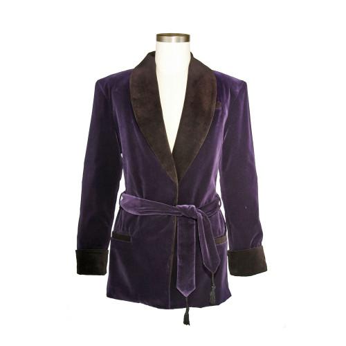 Women's Bilberry Purple Velvet Smoking Jacket with Black Lining