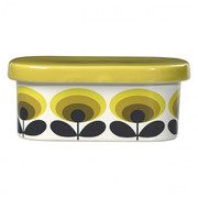 Butter Dish 70s Oval Flower Yellow