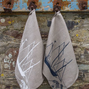 Tea Towel  - Natural with white Print - Coastal Ships