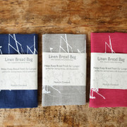 Bread Bags - Coastal Ship - White on Natural linen