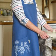 Blue Linen Apron with Hedgerow Design