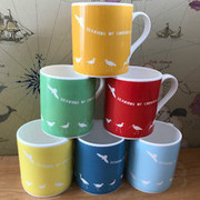 Alison Bick Seabirds of Cornwall mugs available in a variety of colours. Created by Chown Cornwall and screenprinted in Cornwall.