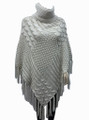 Two-Tone Turtleneck Cable Knit Poncho Beige # P032-1