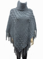 Two-Tone Turtleneck Cable Knit Poncho Grey # P032-3