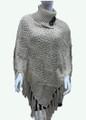 Sequin Button Turtleneck Knit Poncho Ivory # P169-4
