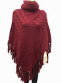 Solid Color Turtleneck Cable-Knit Poncho  Burgundy # P053-4