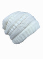 Women's Fashion Long Cable Knit Beanie Cap WhiteDozen #H1131