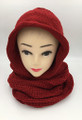 New!Soft Knit Pullover Hood Infinity Scarf Burgundy # 1525