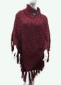 Sequin Button Turtleneck Knit Poncho  Burgundy # P168-5