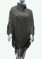 Sequin Button Turtleneck Knit Poncho Taupe # P168-2