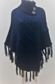 Sequin Button Turtleneck Knit Poncho Navy # P168-6