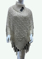 Sequin Button Turtleneck Knit Poncho Beige # P168-4