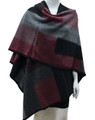 Women's Winter Reversible Oversized  Poncho Cape Burgundy # P176-1