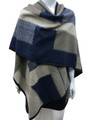 Women's Winter Reversible Oversized  Poncho Cape Navy # P176-2