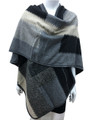 Women's Winter Reversible Oversized  Poncho Cape Gray # P176-4