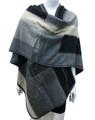 Women's Winter Reversible Oversized  Poncho Cape Gray # P176-4