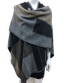 Women's Winter Reversible Oversized  Poncho Cape Black # P176-5