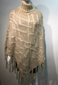 New!  Two-Tone Knit Poncho beige # P180-1
