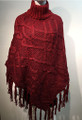 Two-Tone Knit Poncho Red # P180-4