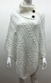 Solid Color Cable-Knit Button Turtleneck  Poncho White # P182-3