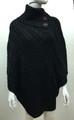 Solid Color Cable-Knit Button Turtleneck  Poncho Black # P182-5
