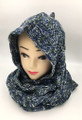 New! Two-Tone Winter Pullover Knit  Hood Infinity Scarf  Navy # 1553