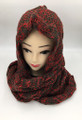 New!Two-Tone Winter Pullover Knit  Hood Infinity Scarf  Burgundy # 1553