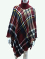 Womens Stylish Turtleneck  Poncho Red  # P184-5