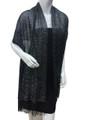 Women's glitter metallic shawl scarf Black # 736-3