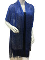 women's glitter metallic shawl scarf  Royal Blue with silver # 736-18