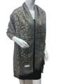 New!   Metallic Pashmina with Leopard Gray Dozen #P102-3