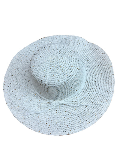 c20f449452d Summer Straw Floppy String Band with Sequins Hat White  8033-3. Image 1