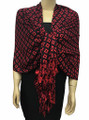 New! Pashmina Diamond Design Red / Black Dozen #111-1