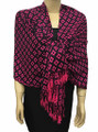 New! Pashmina Diamond Design Hot Pink / Black Dozen #111-5