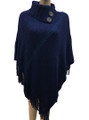 New! Solid Color  Button Turtleneck Metallic  Poncho  Navy # P188-2