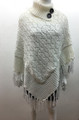Sequin Button Turtleneck Knit Poncho White # P168-8