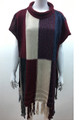 New !  Multicolored Pullover Short Sleeve  Poncho Assorted Dozen # P208